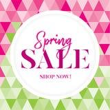 Gráfico rosado y verde de la venta de la primavera con las flores Foto de archivo libre de regalías