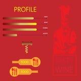 Gráfico sabroso de la información del restaurante del vino y de la comida Imagen de archivo