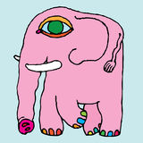 Gráfico simple de la mano del elefante rosado Imagenes de archivo