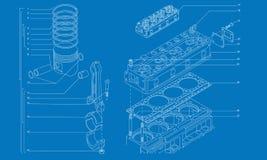Gráfico técnico de la maquinaria complicada ilustración del vector