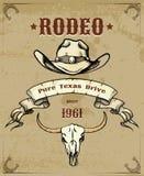 Gráfico temático del rodeo con el vaquero Hat y el cráneo stock de ilustración