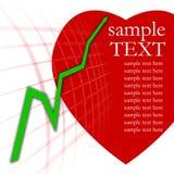 Gráfico verde da seta e coração vermelho Imagens de Stock Royalty Free