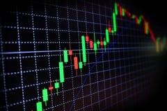 Gráfico verde y rojo del mercado de acción con el fondo negro, mercado de las divisas, negociando fotografía de archivo