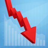 Gráfico vermelho da seta que vai para baixo no fundo branco Imagens de Stock