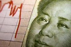 Gráfico y billete de banco del mercado de acción Fotografía de archivo libre de regalías