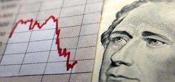 Gráfico y billete de banco del mercado de acción Foto de archivo