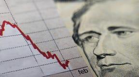 Gráfico y billete de banco del mercado de acción Imagen de archivo libre de regalías