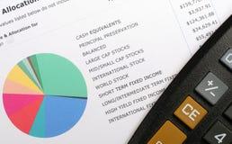 Gráfico y calculadora de la asignación de la inversión Imagen de archivo