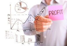 gráfico y carta del análisis de negocio Fotos de archivo