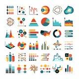 Gráfico y cartas de los datos de negocio Iconos planos del vector de las estadísticas del márketing Fotos de archivo