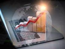 Gráfico y diagrama de negocio en el teclado del ordenador portátil Nuevas tecnologías, concepto del negocio de las comunicaciones stock de ilustración