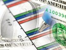 Gráfico y dinero foto de archivo libre de regalías