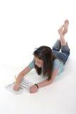 Gráfico y escritura 1 de la chica joven imagenes de archivo