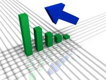 Gráfico y flecha de barra Foto de archivo libre de regalías