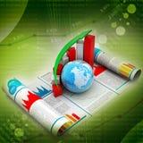 Gráfico y globo del crecimiento del negocio Imágenes de archivo libres de regalías