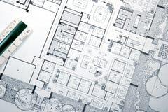 Gráfico y planes del arquitecto Fotografía de archivo