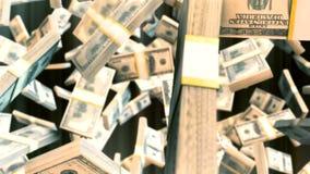Gráficos abstratos do movimento do cgi com notas de dólar de queda vídeos de arquivo