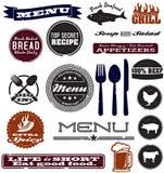 Gráficos apenados del diseño del menú Foto de archivo