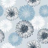 Gráficos azuis e flores brancas ilustração stock