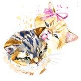 Gráficos bonitos do t-shirt do gato, ilustração da família de gato da aquarela Imagens de Stock Royalty Free