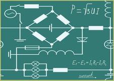 Gráficos, carta e fórmulas da eletricidade. Foto de Stock Royalty Free