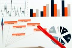 Gráficos, cartas, pesquisa de mercado e fundo coloridos do informe anual do negócio, projeto da gestão, planeamento do orçamento, Fotografia de Stock Royalty Free
