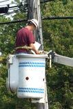 Gráficos cheking del cableado del instalador de líneas Foto de archivo