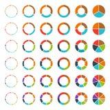 Gráficos circulares divididos en segmentos y flechas fijados Imágenes de archivo libres de regalías
