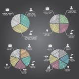 Gráficos circulares divididos en segmentos y multicolores fijados Fotos de archivo libres de regalías
