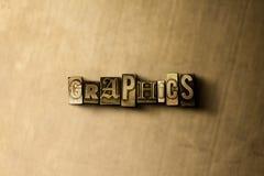 GRÁFICOS - close-up vintage sujo da palavra typeset no contexto do metal Foto de Stock