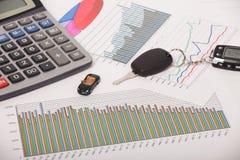 Gráficos com chave da calculadora e do carro Fotografia de Stock Royalty Free