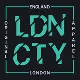 Gráficos da tipografia de Londres, Inglaterra para o t-shirt Gráficos do projeto para o fato original Cópia da roupa Vetor ilustração royalty free