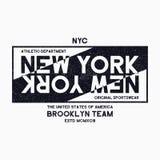 Gráficos da tipografia de New York City, Brooklyn para o t-shirt Cópia do Grunge para o fato atlético de NYC Projeto original da  ilustração stock