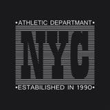 Gráficos da tipografia de New York City Cópia para o t-shirt, projeto da roupa Vetor ilustração stock