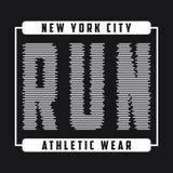 Gráficos da tipografia de New York para correr Imprima para o t-shirt, projeto da roupa atlética da corrida Selo para o fato do o ilustração stock