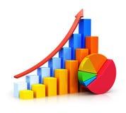 Gráficos de barra y gráfico de sectores cada vez mayor Imagenes de archivo