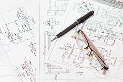 Gráficos de ingeniería. Fotografía de archivo libre de regalías