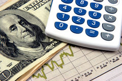 Gráficos de la calculadora de la planificación financiera Fotografía de archivo