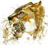 Gráficos de la camiseta de la leona y del cachorro el ejemplo de la leona y del cachorro con la acuarela del chapoteo texturizó e ilustración del vector