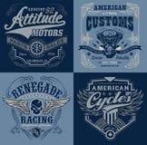 Gráficos de la camiseta del emblema del motorsport del vintage ilustración del vector