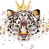 Gráficos de la camiseta del leopardo Ejemplo del leopardo con el fondo texturizado acuarela del chapoteo acuarela inusual del eje Imagen de archivo libre de regalías
