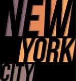 Gráficos de la impresión de la tipografía del diseño de la camiseta de la camiseta de New York City Imagen de archivo libre de regalías