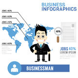 Gráficos de la información del hombre de negocios Fotografía de archivo libre de regalías