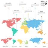 Gráficos de la información del mapa del mundo Fotografía de archivo
