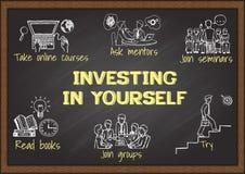 Gráficos de la información en la pizarra sobre la inversión en sí mismo ilustración del vector
