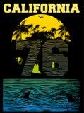 Gráficos de la tipografía de la playa de California Imagen de archivo libre de regalías