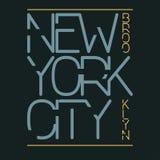 Gráficos de la tipografía de New York City, diseño de la impresión de la camiseta Desgaste original de New York City, Brooklyn ilustración del vector