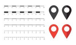 Gráficos de las escalas de mapa del vector Fotos de archivo libres de regalías