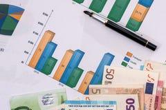 gráficos de negócio com euro- cédulas Fotos de Stock Royalty Free