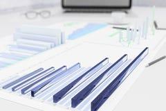 gráficos de negócio 3D na tabela com papéis Fotos de Stock